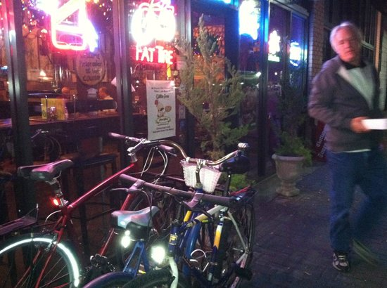 Lupi's Pizza Pies: Ample bike parking outside of Lupi's