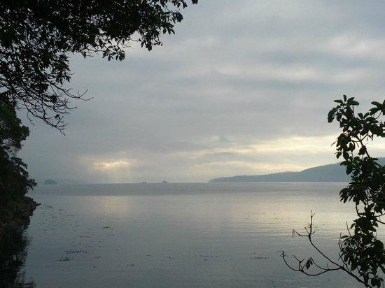 Spindrift Oceanfront Cottages: Sunrise on a foggy morning over Ganges Harbour