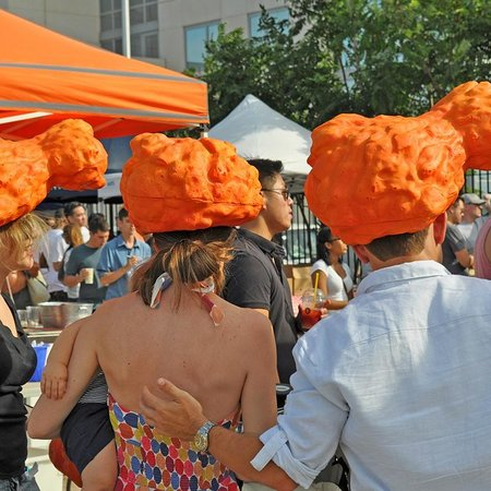 Like A Local Tours: Head gear at Smorgasburg on the Taste of Williamsburg Brooklyn tour.
