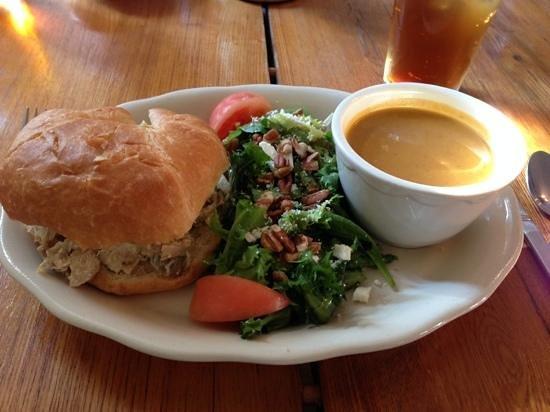 J Huston Tavern: Chicken salad sandwich, salad and delicious pumpkin soup!