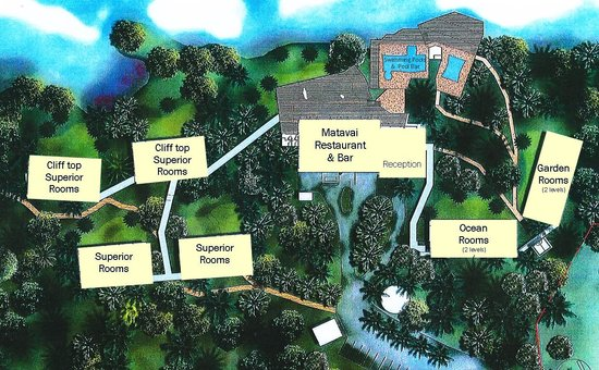 Birds Eye View Map Of Matavai Resort Picture Of Scenic Matavai - Niue map