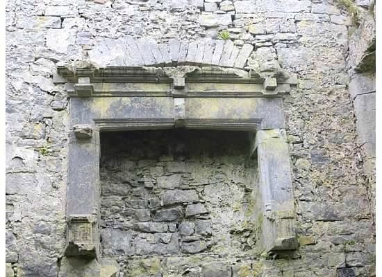 Ballinalacken Castle Country House : Fireplace in castle ruins