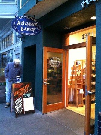 Arizmendi Bakery: Outside of Arizmendi's from our parked car