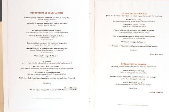 Hôtel Restaurant du Vieux Pont : The menu