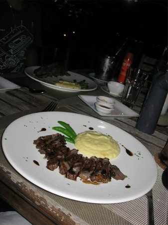 Ad Hoc Beach Cafe: Teriyaki beef and wasabi mash - my fav of the two dishes!