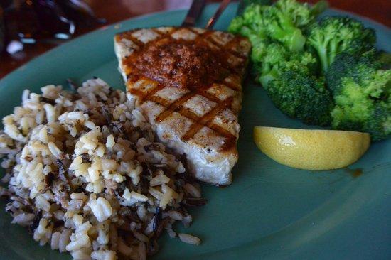 Ocean Deck Restaurant & Beach Club: Swordfish was good, broccoli was great!