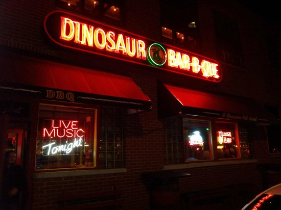 Dinosaur Bar-B-Que: Tucked away on a side street, Dino's neon sign helps lure you inside.