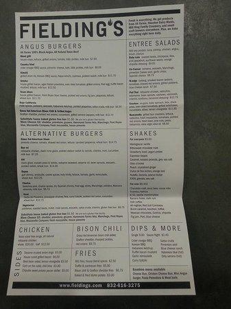 Fielding's Wood Grill: The Menu...side 1