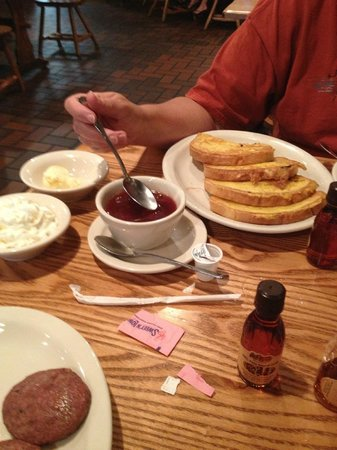 Cracker Barrel: cherry sauce & french toast