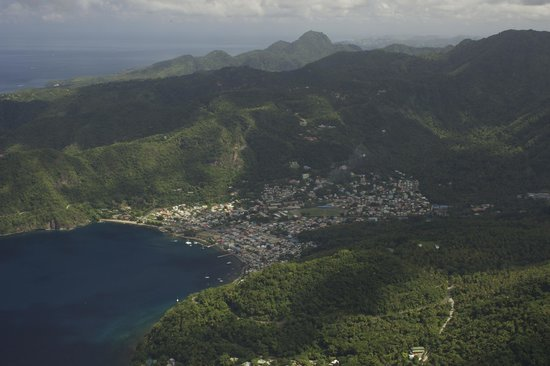 La Haut Resort : La Haut (on the hill--orange roof-middle of pic) above Soufriere, as seen from Petit Piton