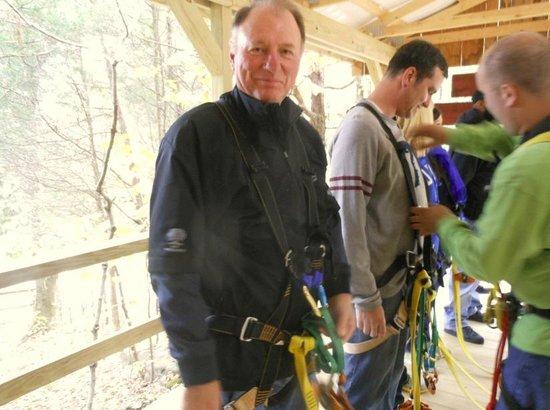 Squire Boone Caverns Zipline Adventures: Getting hooked up.