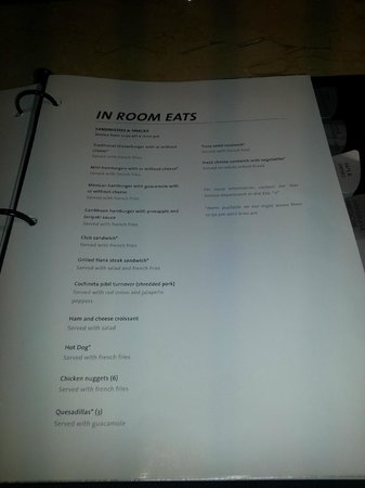 Hard Rock Hotel Room Service Menu
