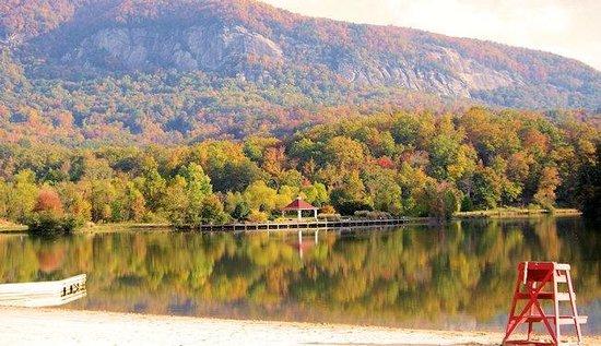 Arbor Cabins at Lake Lure: Lake Lure Beach & Marina during Fall