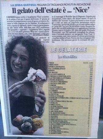 Gelateria Nice: MIGLIOR GELATO DI SIENA 2013!!!
