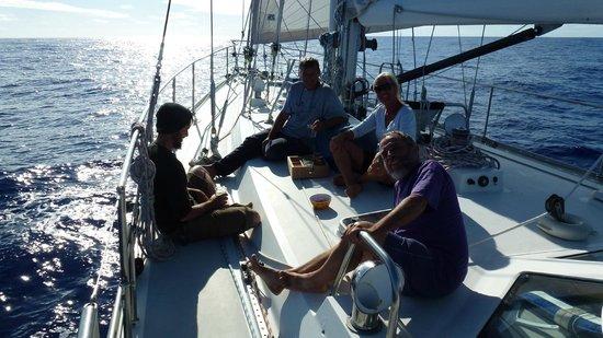 Pitcairn Islands: Crew (from left): Steve, skipper Lars, Grete & Mike