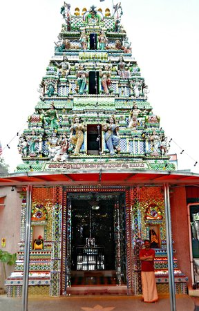 Arulmigu Sri Rajakaliamman Glass Temple: Our guide near the entrace.