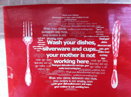 HelloBCN Hostel: Funny warning from the kitchen
