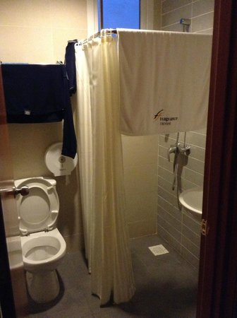 Fragrance Hotel - Imperial : No divider for the shower area save for the curtain