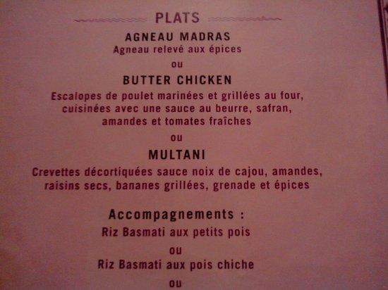 Achiana : une partie du menu à 30€ : choix Multani