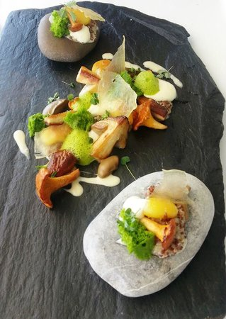 Mirazur: The most interesting dish with 3 types of mushrooms.