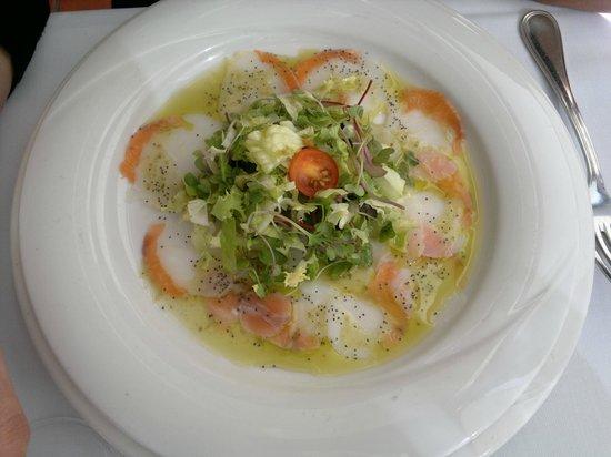 Carpaccio de salmón y bacalao - Menú Restaurante EL VENTALL