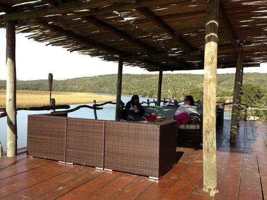 Kariega Game Reserve - River Lodge: River Lodge Veranda after Safari
