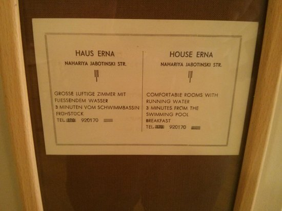 Shtarkman Erna Boutique Hotel: An advertisement of the Hotel from 40 years ago. Running water...