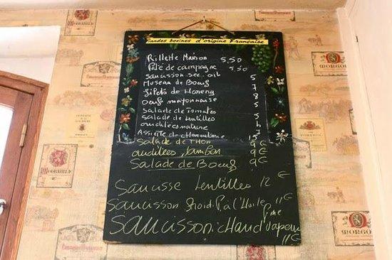 Le Rubis : Blackboard menu