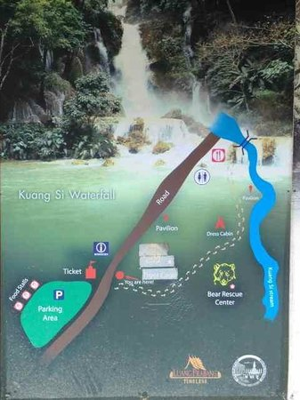 Tad Thong Waterfall: 料金ブースからレストランまでの地図。Map from the entrance booth to the restaurant.