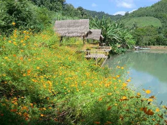 Tad Thong Waterfall: 小屋では食事ができる。You can have food delivered to these huts.