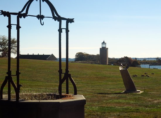 Avery Point Light : A few of the sculptures leading to the lighthouse