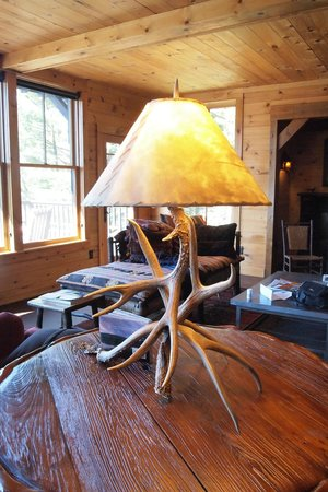 Dartbrook Lodge: more living room, rustic lamp.