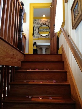 Armstrong Inns Bed and Breakfast: Stairs leading up to the bedroom and bathroom in the Carriage House.