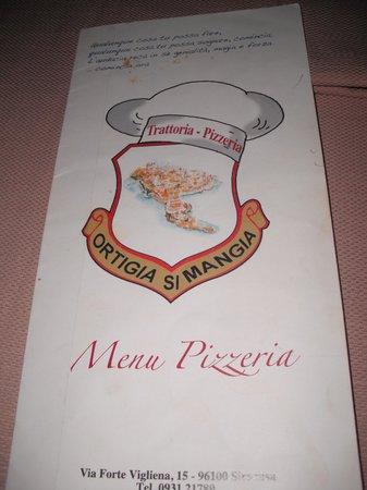 Ortigia Si Mangia : Il menù della pizza