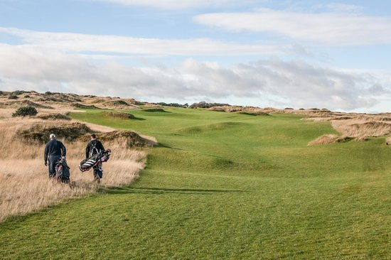 The Castle Course at St. Andrews Links: Uphill into the Wind