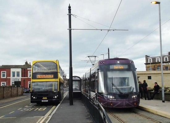Blackpool Tramway: Bus 369 and Tram 013 at Fleetwood Ferry