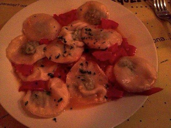 Trattoria GregoLevante: Ravioli of blitva and anchovies with garlic, tomatoes & shrimp
