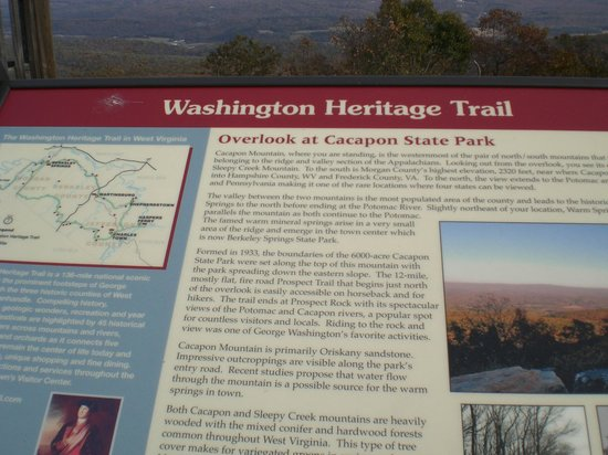 Cacapon State Park: Signage for Washington Heritage Trail