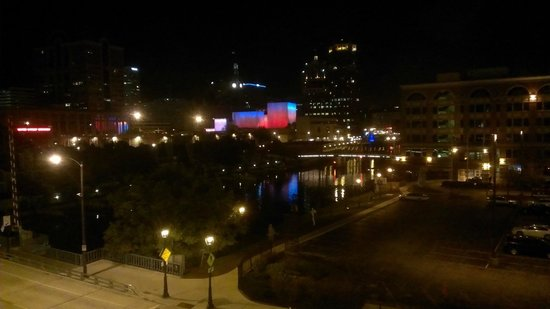 Aloft Milwaukee Downtown: View from room 4009 at night.