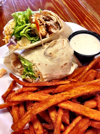 The Purple Onion Cafe: Fried Chicken Wrap with Sweet Potato Fries