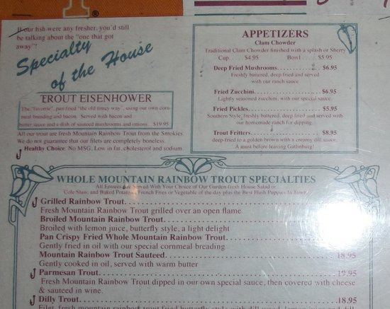 Smoky Mountain Trout House: Menu of Trout choices