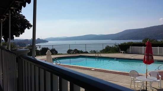 Inn on the Hudson : Pool with the Hudson River behind it.