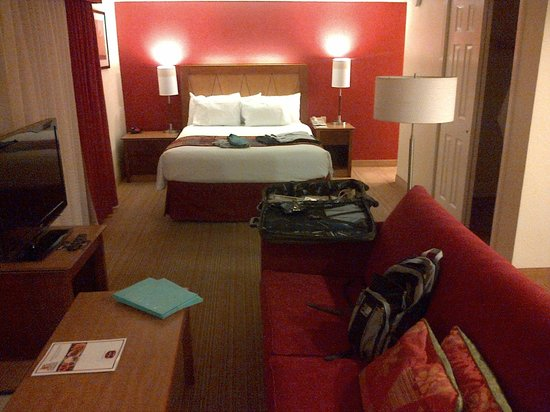 Residence Inn Fremont Silicon Valley : large bed with sofa in front