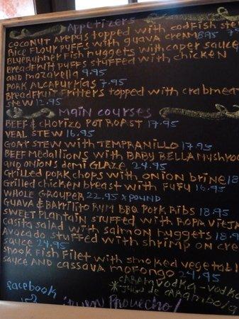 Casita Miramar: blackboard menu