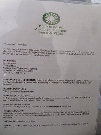 Hotel Piedras del Sol Acapulco Diamante: Anuncio en la recepción
