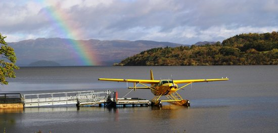 Cameron House on Loch Lomond: View of the Sea plane, from hotel over the Loch