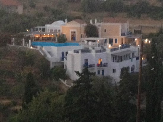Lefkes VIllage Hotel seen from across the valley (from the Church yard)