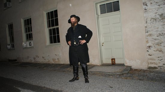 Ghost Tours of Harpers Ferry : it looks like an orb behind Rick, nothing reflective on the wall