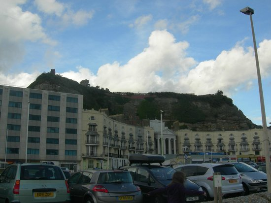 Hastings Castle: A view of the castle grounds from the beach