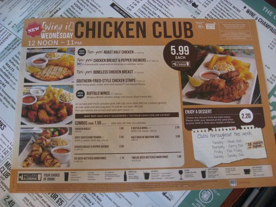 Specials Menu Chicken Club On Wednesdays Picture Of The